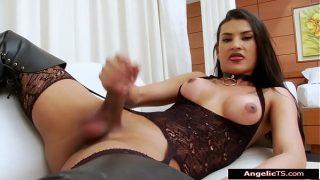 Sexy big tits shemale Aline Garcia jerks